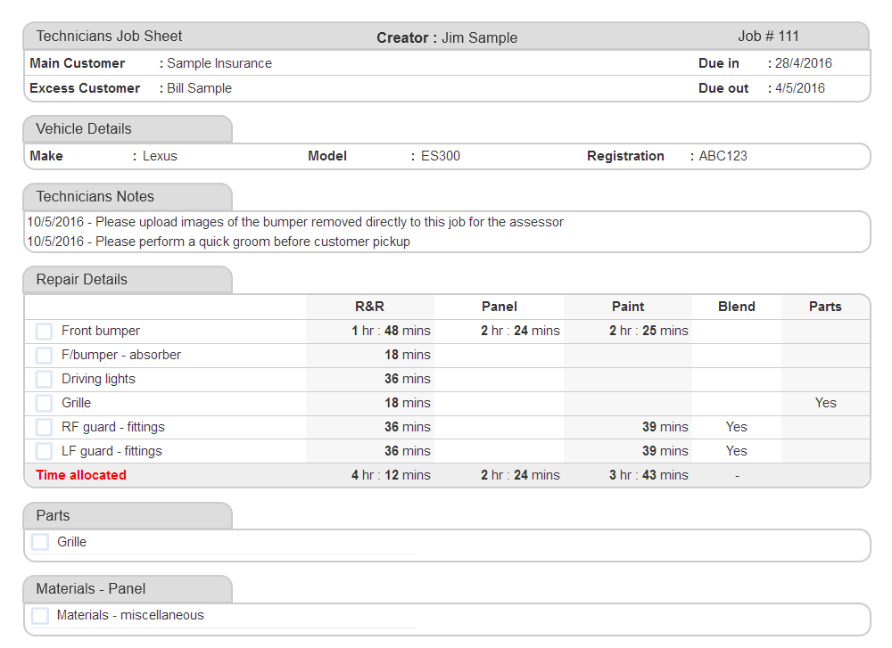 Job Sheet Example